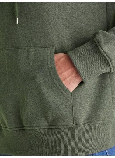 Dufy Zümrüt Yeşılı Kapüşonlu Kanguru Ceplı Erkek Sweatshırt - Slım Fıt Haki